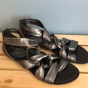 Cole Hann Metaliic Twisted Sandals 9.5